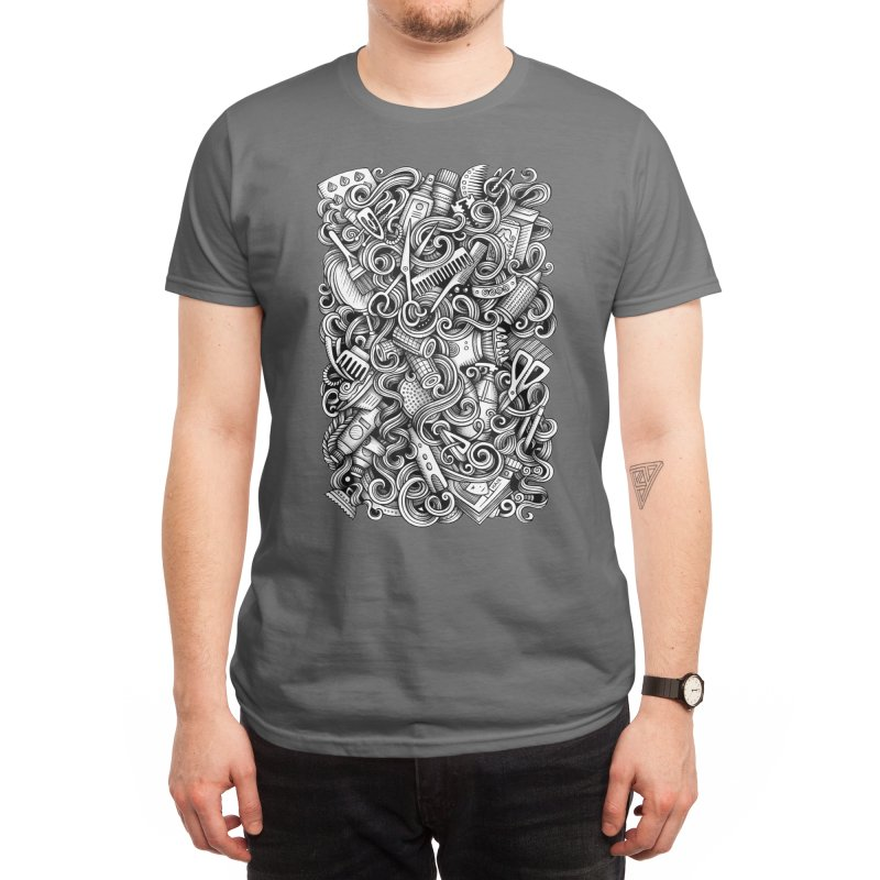 Hair Salon graphics doodle Men's T-Shirt by Balabolka's Shop