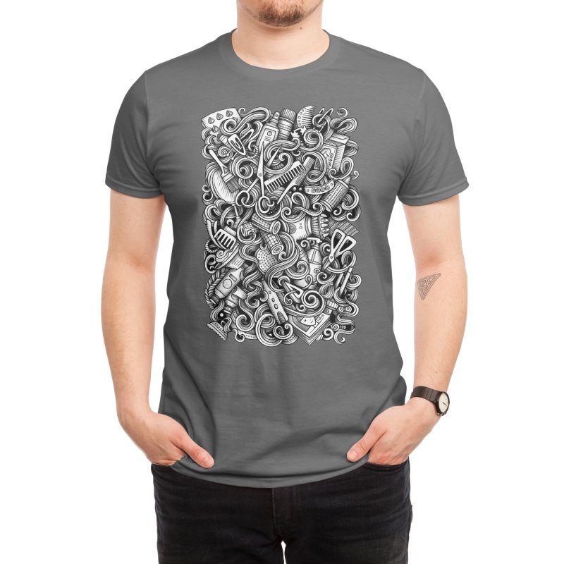 Hair Salon graphics doodle Men's T-Shirt by Balabolka's Shop