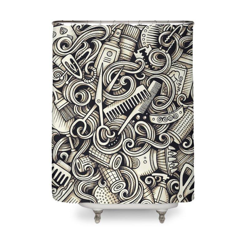 Hair Salon graphics doodle Home Shower Curtain by Balabolka's Shop