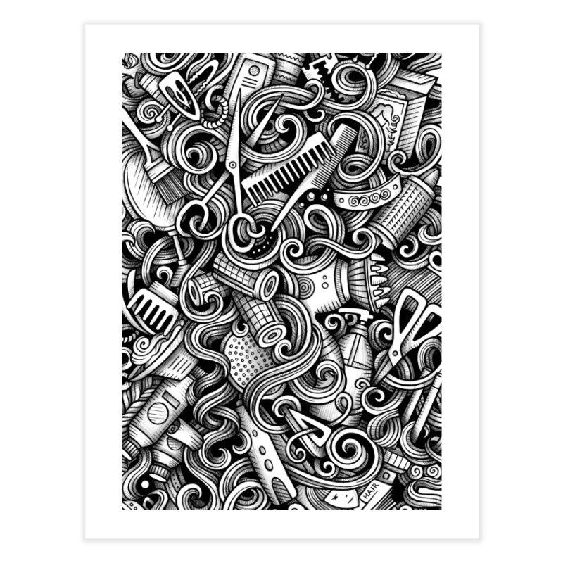 Hair Salon graphics doodle Home Fine Art Print by Balabolka's Shop