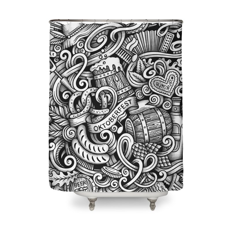 Oktoberfest graphics doodle Home Shower Curtain by Balabolka's Shop
