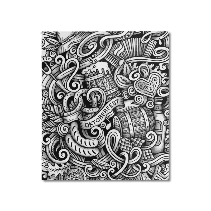 Oktoberfest graphics doodle Home Mounted Aluminum Print by Balabolka's Shop