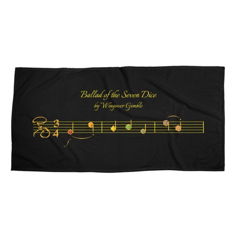 Ballad Sheet Music - Rainbow Yellow Accessories Beach Towel by Ballad of the Seven Dice's Artist Shop