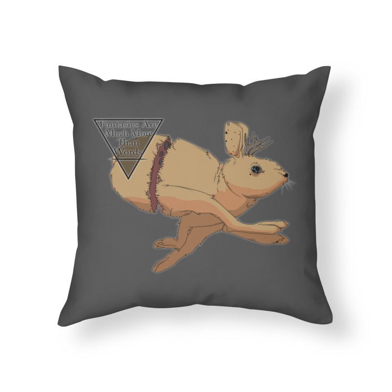 Jackalope Fantasy Home Throw Pillow by Baloney's Artist Shop