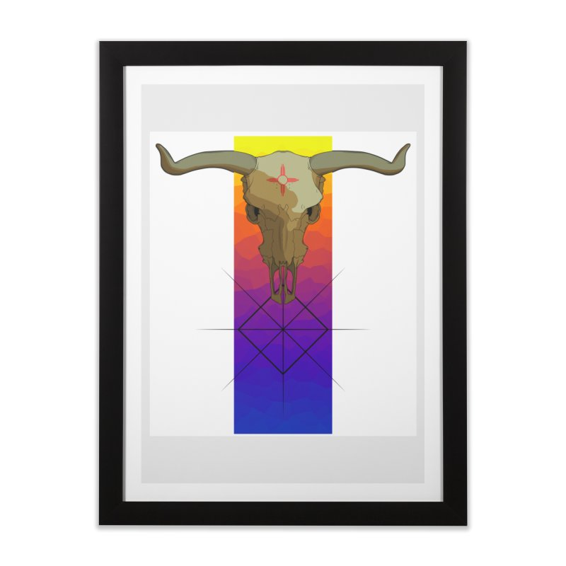 Skull Sunrise Home Framed Fine Art Print by Baloney's Artist Shop