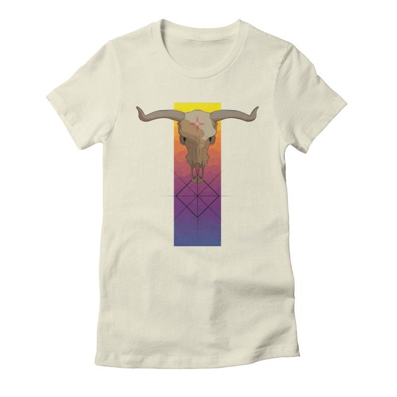Skull Sunrise Women's Fitted T-Shirt by Baloney's Artist Shop