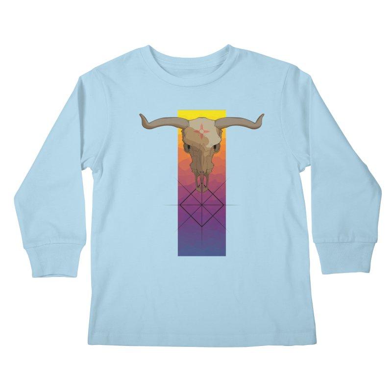 Skull Sunrise Kids Longsleeve T-Shirt by Baloney's Artist Shop