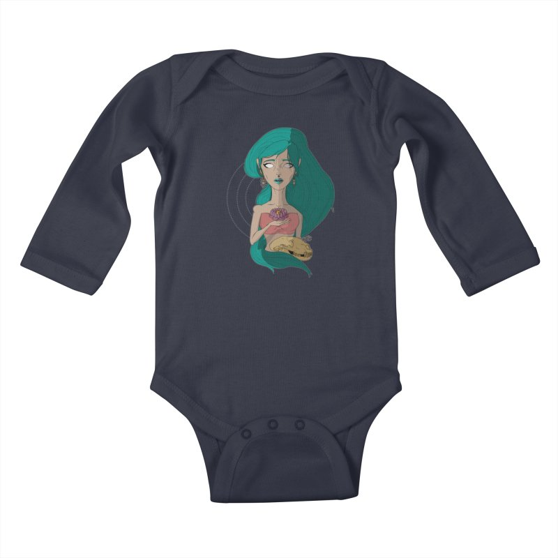 Lotus Kids Baby Longsleeve Bodysuit by Baloney's Artist Shop