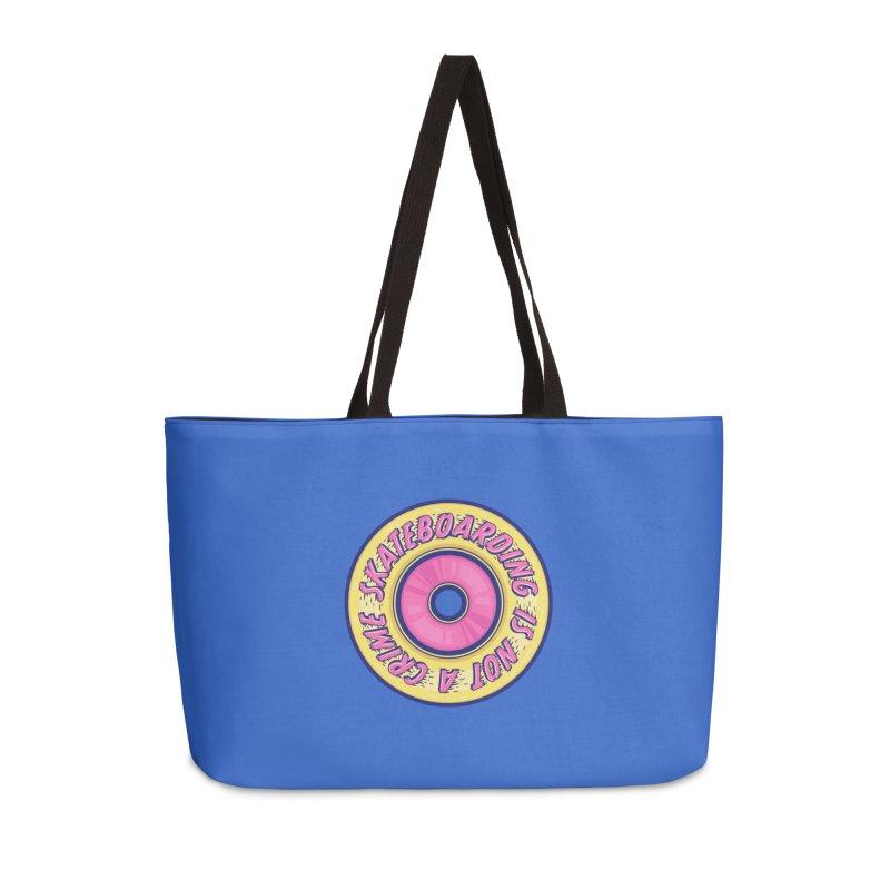 Skateboarding Is Not A Crime – Wheel Accessories Weekender Bag Bag by Bálooie's Artist Shop