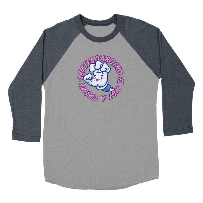 Skateboarding Is Not A Crime – Grining Hand Women's Baseball Triblend Longsleeve T-Shirt by Bálooie's Artist Shop