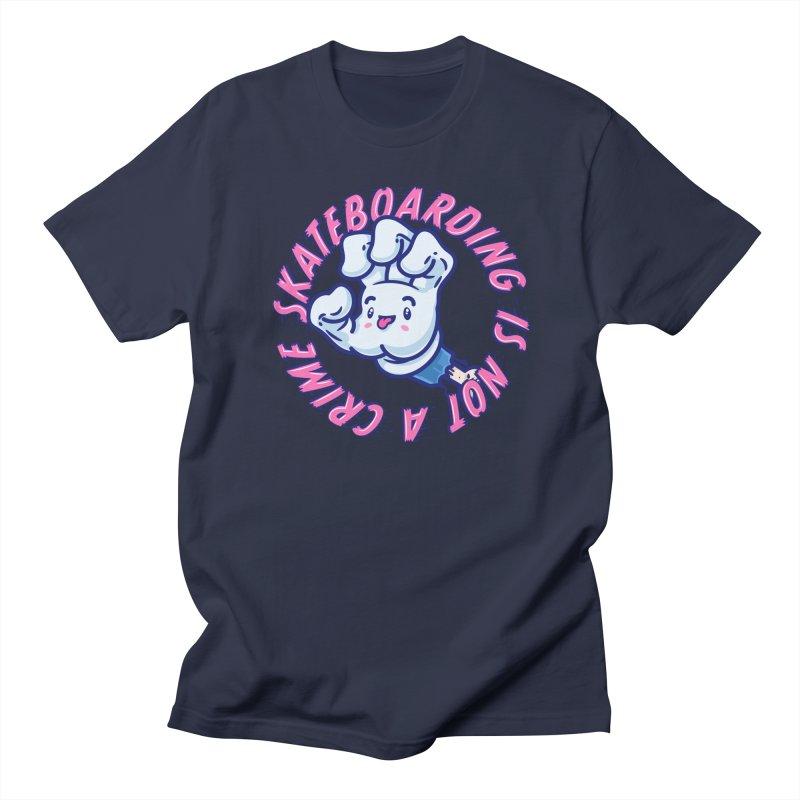 Skateboarding Is Not A Crime – Grining Hand Men's T-Shirt by Bálooie's Artist Shop