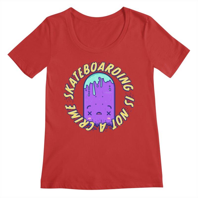 Skateboarding Is Not A Crime – Destruction Women's Regular Scoop Neck by Bálooie's Artist Shop