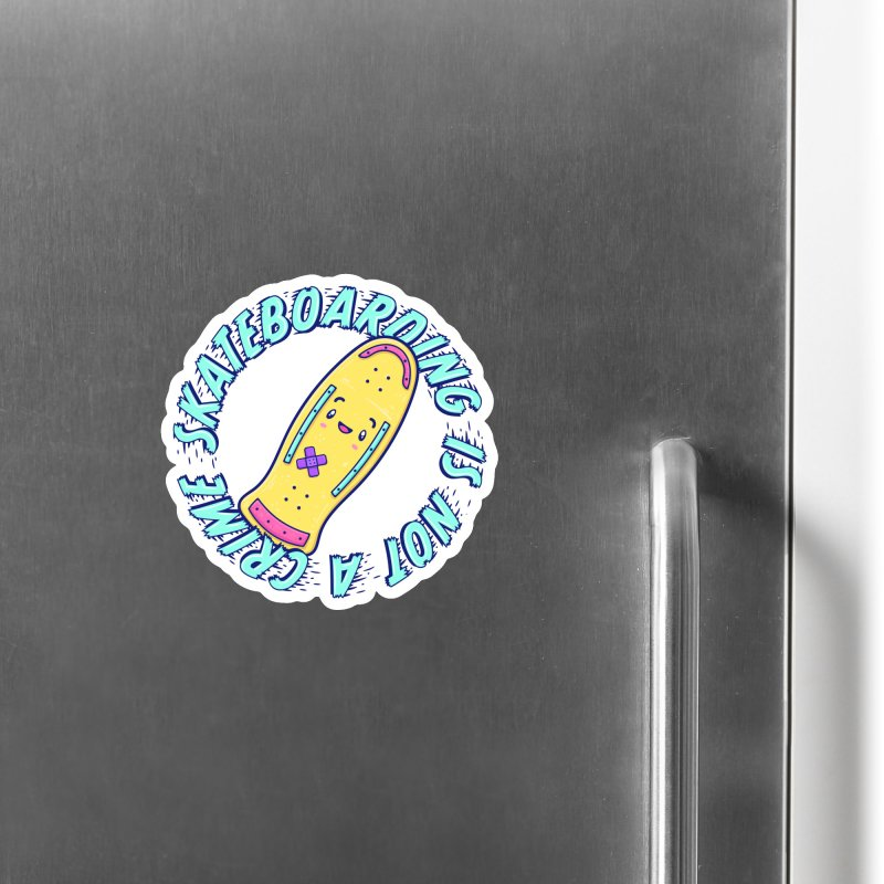 Skateboarding Is Not A Crime – Old School Accessories Magnet by Bálooie's Artist Shop
