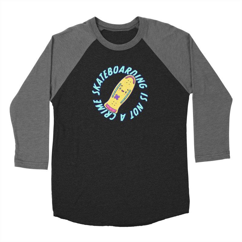 Skateboarding Is Not A Crime – Old School Women's Baseball Triblend Longsleeve T-Shirt by Bálooie's Artist Shop