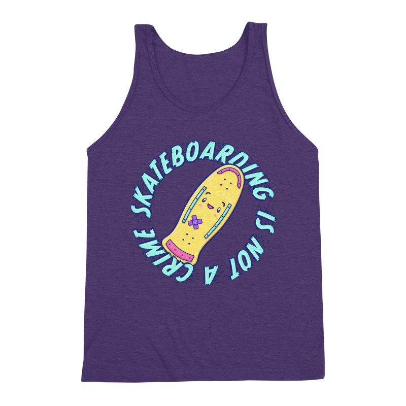 Skateboarding Is Not A Crime – Old School Men's Triblend Tank by Bálooie's Artist Shop