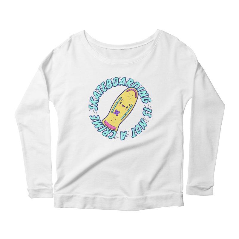 Skateboarding Is Not A Crime – Old School Women's Scoop Neck Longsleeve T-Shirt by Bálooie's Artist Shop