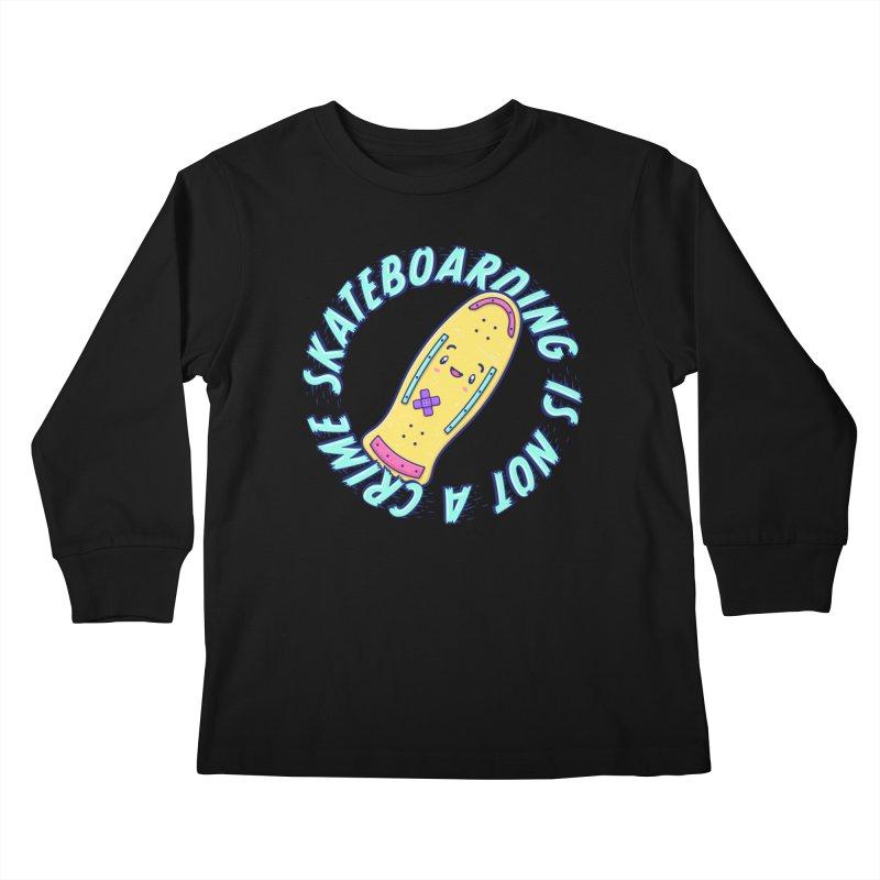 Skateboarding Is Not A Crime – Old School Kids Longsleeve T-Shirt by Bálooie's Artist Shop