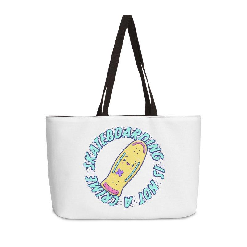 Skateboarding Is Not A Crime – Old School Accessories Weekender Bag Bag by Bálooie's Artist Shop