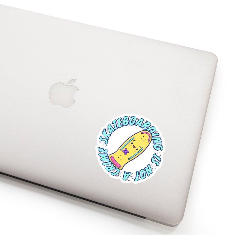 Skateboarding Is Not A Crime – Old School Accessories Sticker by Bálooie's Artist Shop