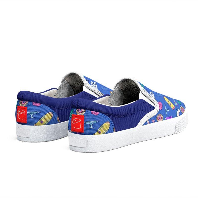 Skateboarding Is Not A Crime – Dark Blue Pattern Women's Shoes by Bálooie's Artist Shop