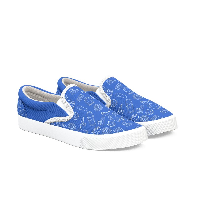 Skateboarding Is Not A Crime – Blue Pattern Men's Shoes by Bálooie's Artist Shop