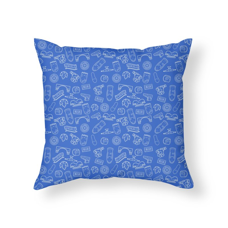 Skateboarding Is Not A Crime – Blue Pattern Home Throw Pillow by Bálooie's Artist Shop