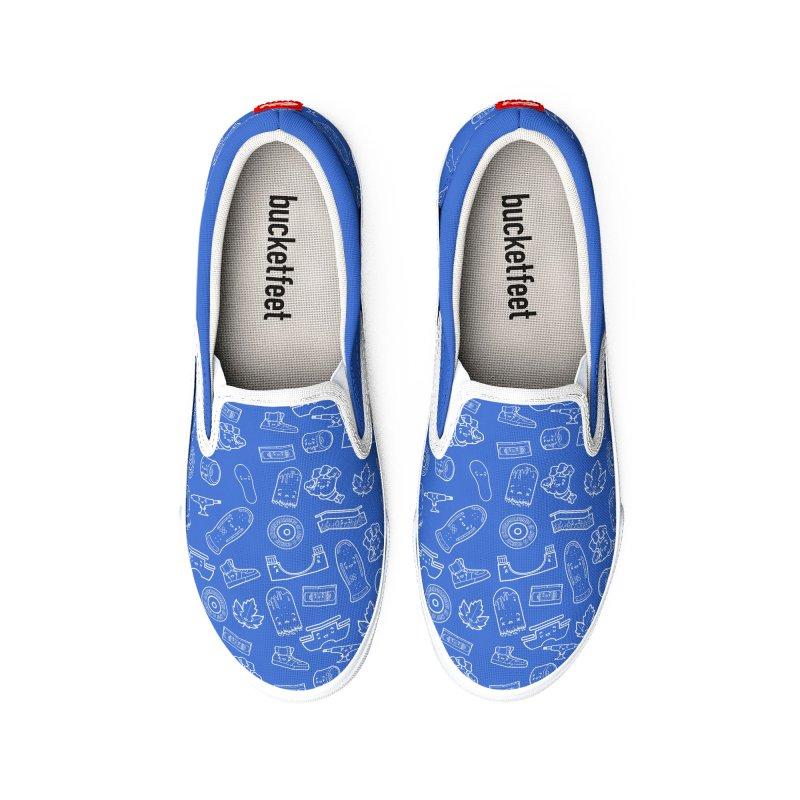 Skateboarding Is Not A Crime – Blue Pattern Women's Shoes by Bálooie's Artist Shop