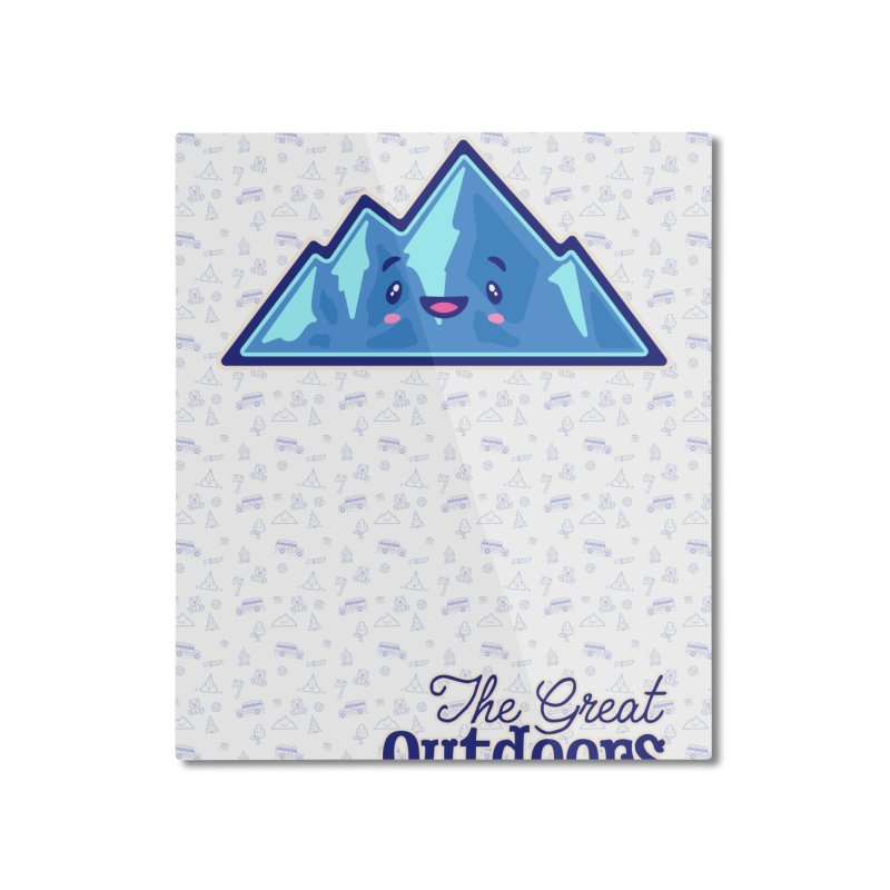 The Great Outdoors Sticker Collection – Mountains Home Mounted Aluminum Print by Bálooie's Artist Shop