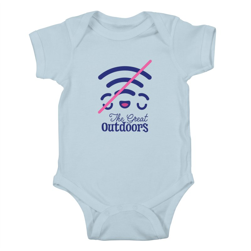 The Great Outdoors – No Signal Kids Baby Bodysuit by Bálooie's Artist Shop
