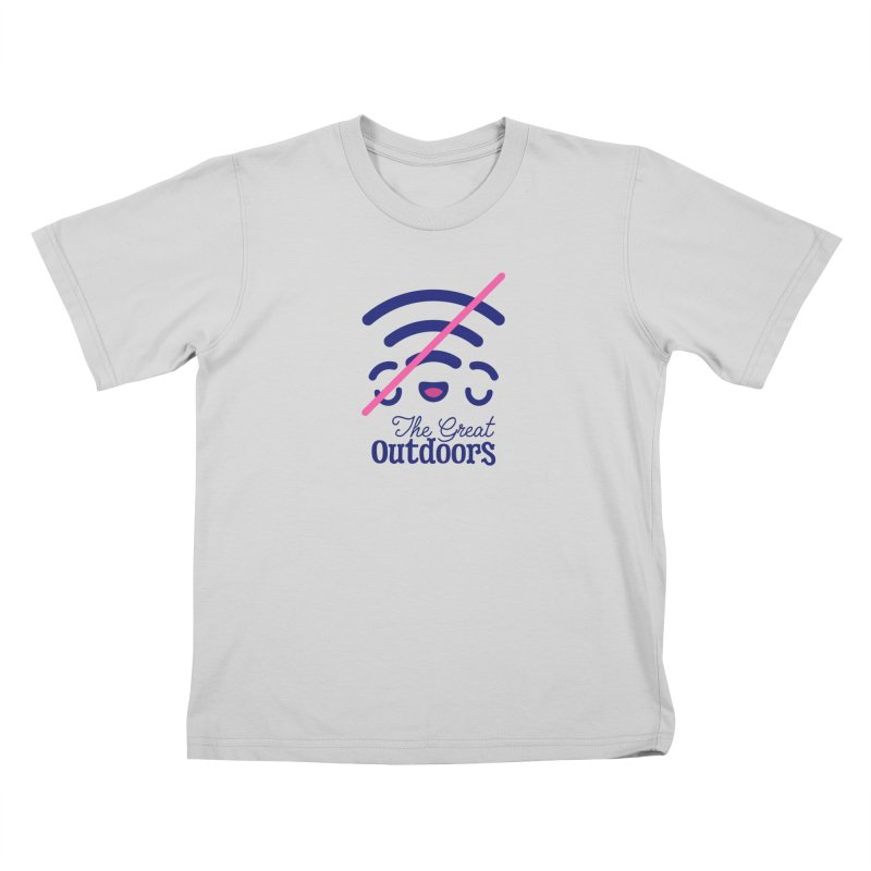 The Great Outdoors – No Signal Kids T-Shirt by Bálooie's Artist Shop
