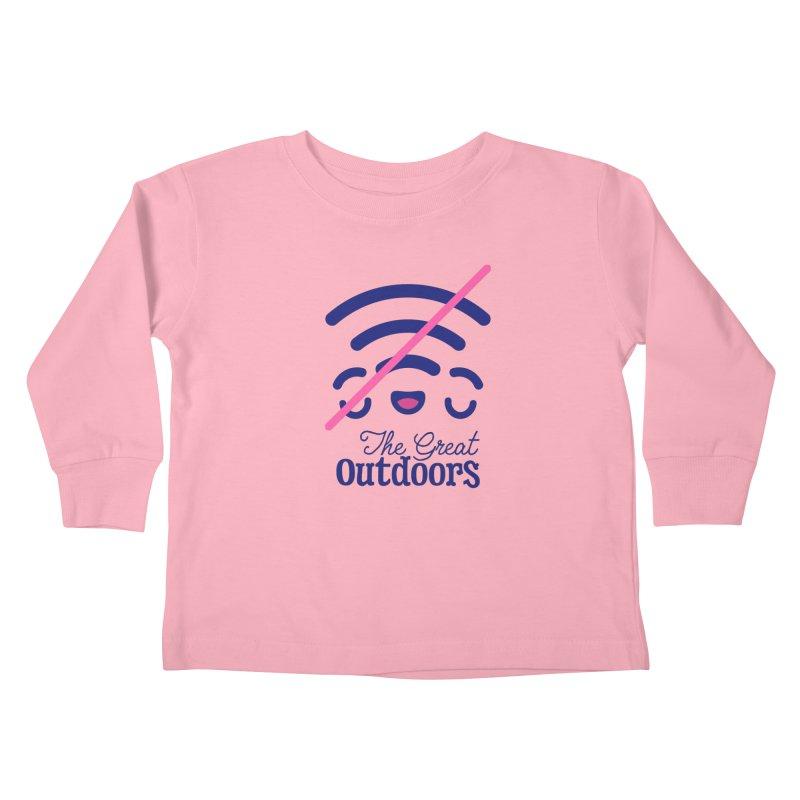 The Great Outdoors – No Signal Kids Toddler Longsleeve T-Shirt by Bálooie's Artist Shop