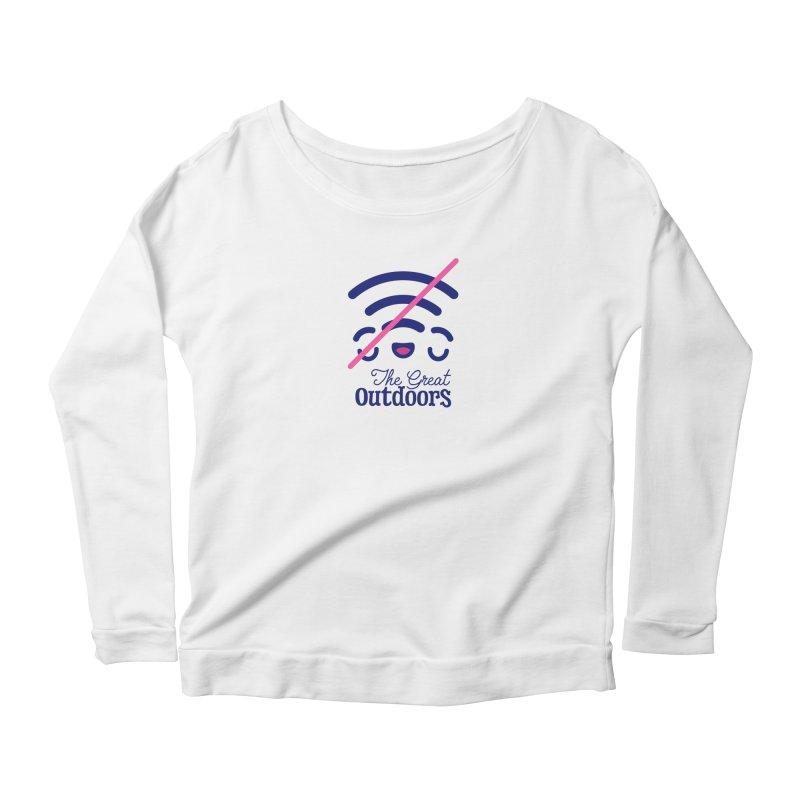 The Great Outdoors – No Signal Women's Scoop Neck Longsleeve T-Shirt by Bálooie's Artist Shop