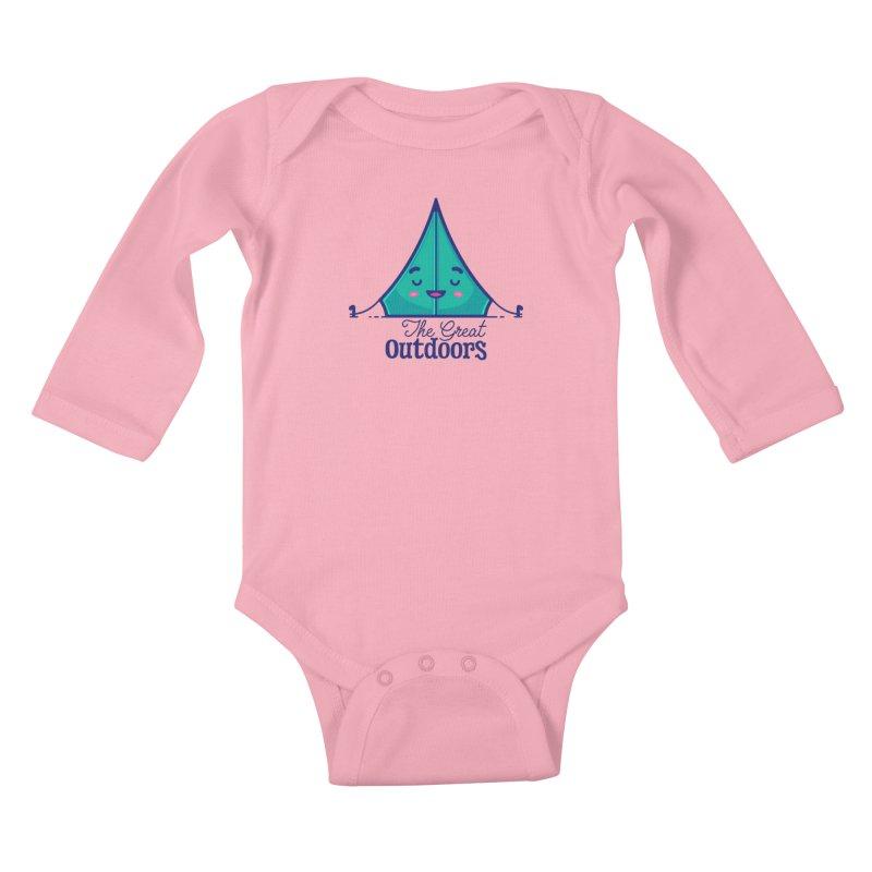 The Great Outdoors – Tent Kids Baby Longsleeve Bodysuit by Bálooie's Artist Shop