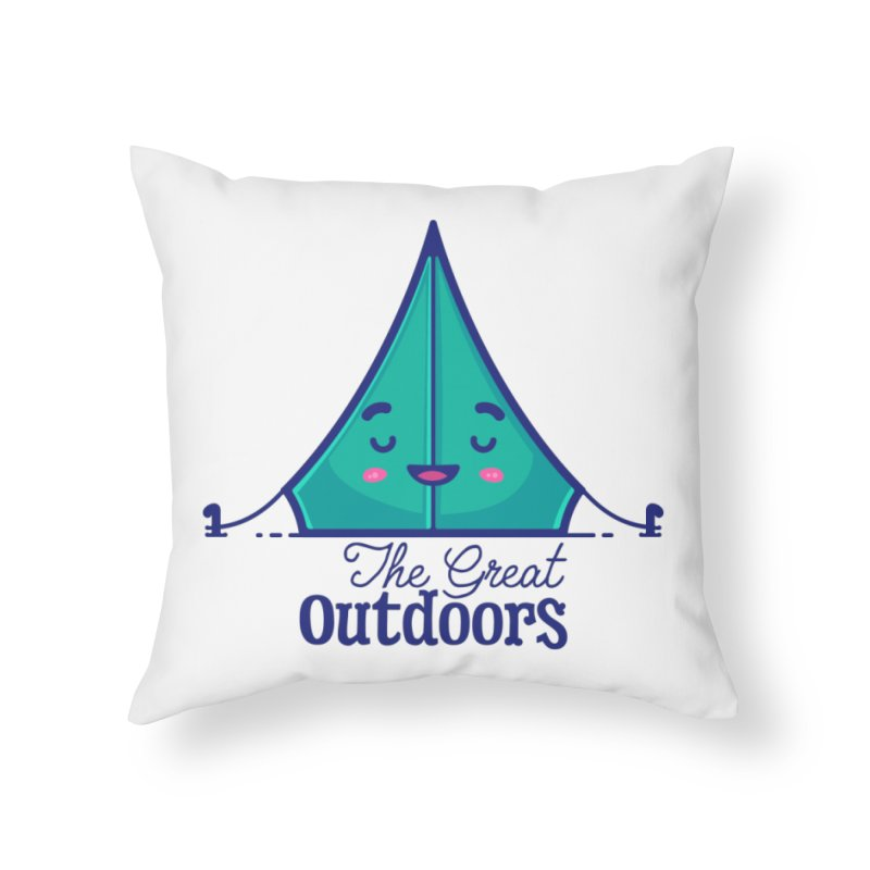 The Great Outdoors – Tent Home Throw Pillow by Bálooie's Artist Shop