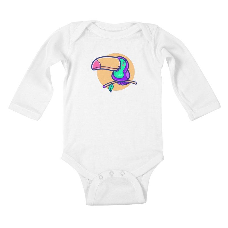 Tropicana Summer Vibes – Toucan Kids Baby Longsleeve Bodysuit by Bálooie's Artist Shop