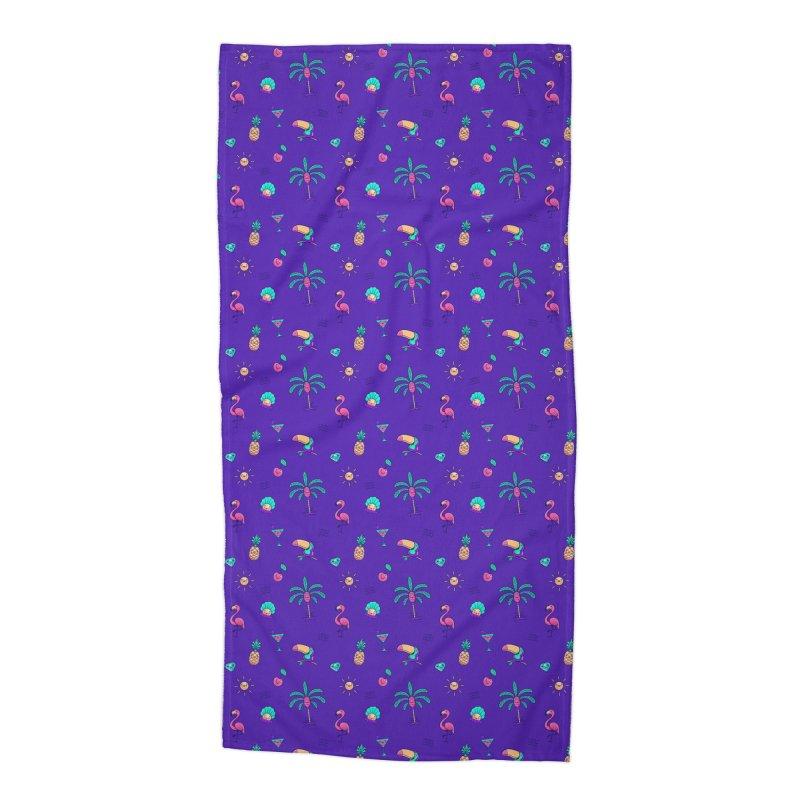 Tropicana Summer Vibes Pattern – Purple Accessories Beach Towel by Bálooie's Artist Shop