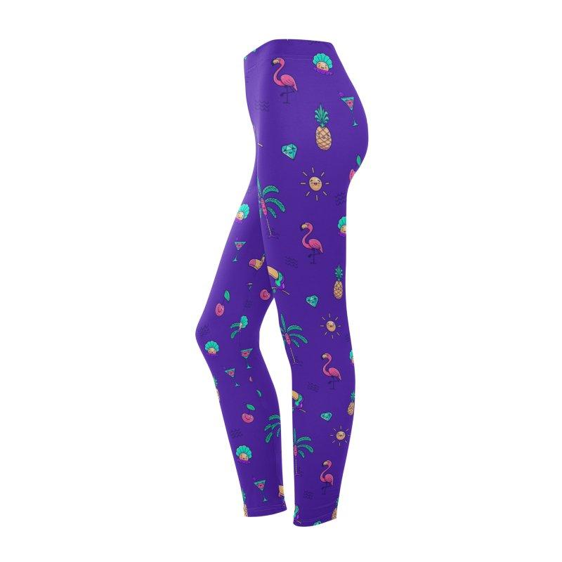 Tropicana Summer Vibes Pattern – Purple Women's Bottoms by Bálooie's Artist Shop