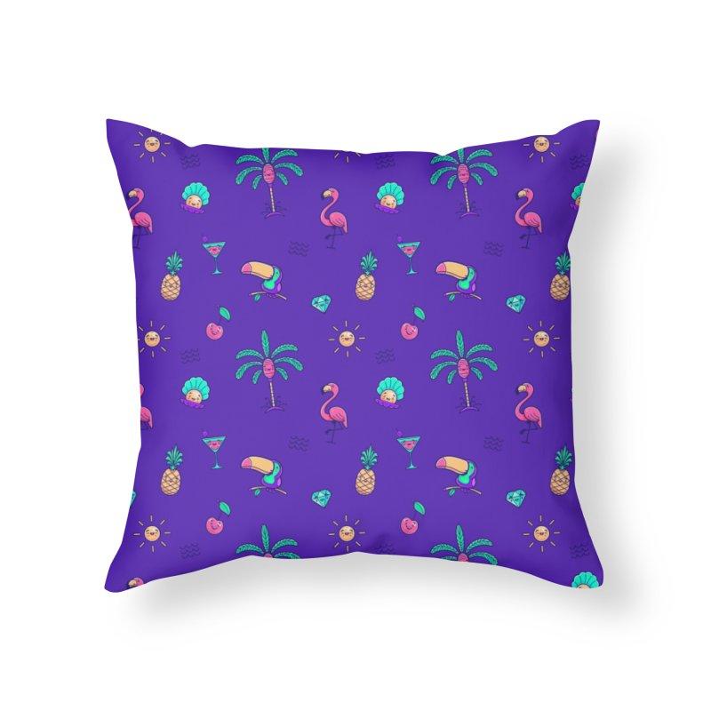 Tropicana Summer Vibes Pattern – Purple Home Throw Pillow by Bálooie's Artist Shop