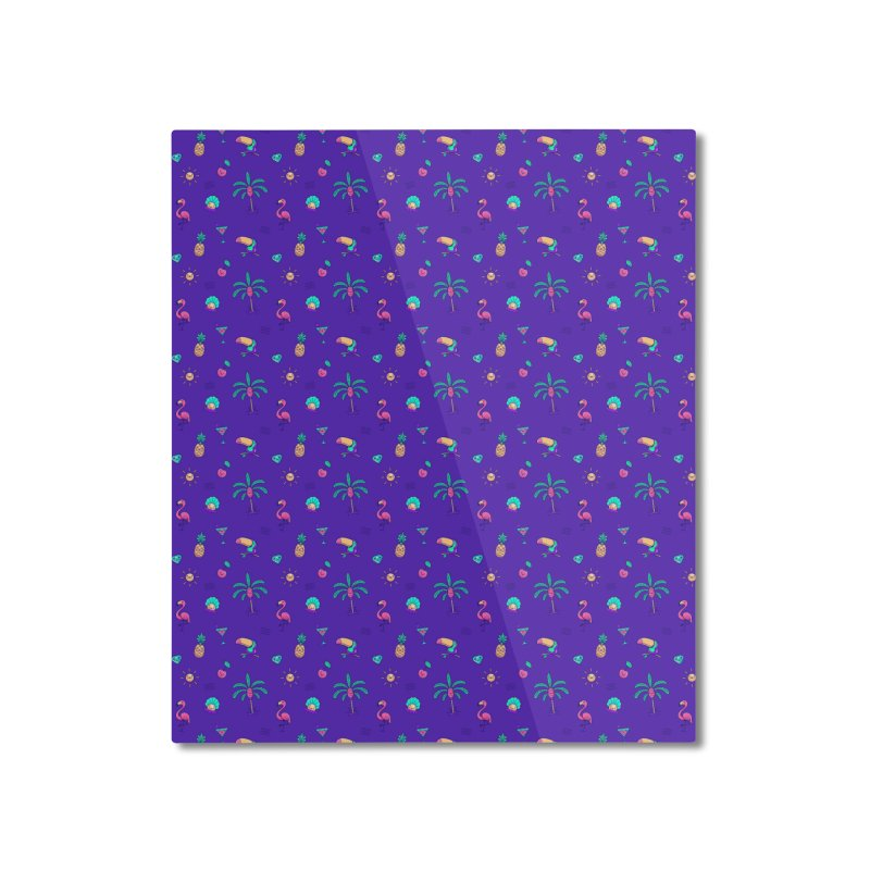 Tropicana Summer Vibes Pattern – Purple Home Mounted Aluminum Print by Bálooie's Artist Shop