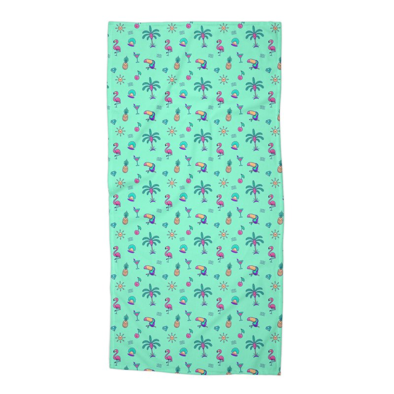 Tropicana Summer Vibes Pattern – Turquoise Accessories Beach Towel by Bálooie's Artist Shop