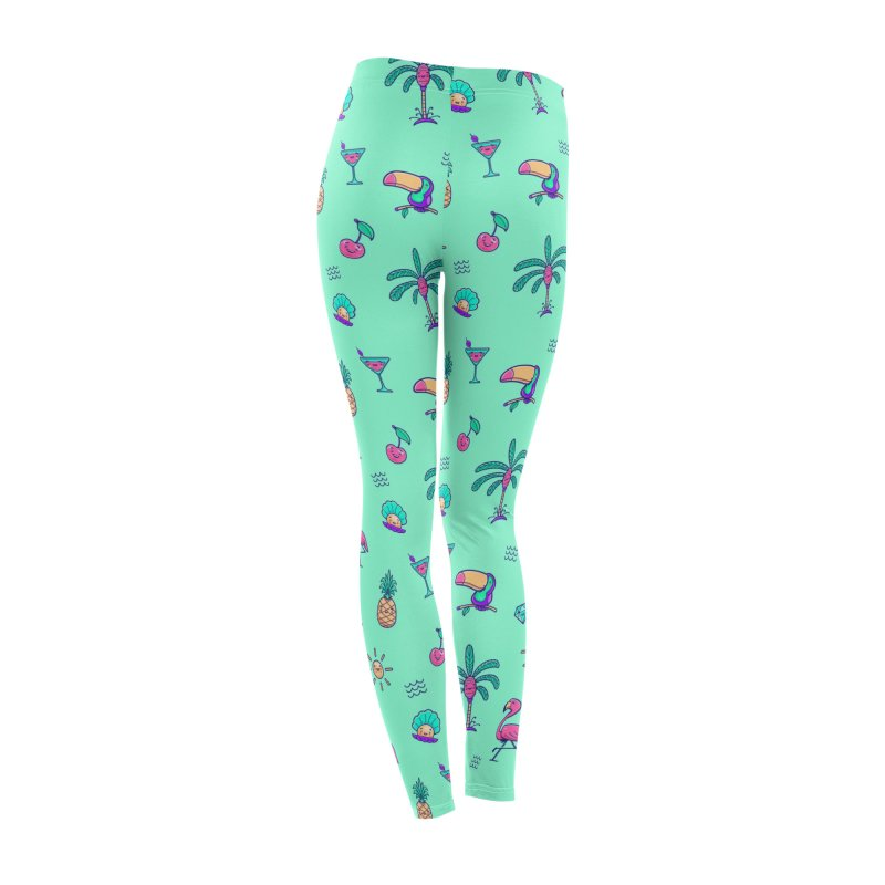 Tropicana Summer Vibes Pattern – Turquoise Women's Bottoms by Bálooie's Artist Shop