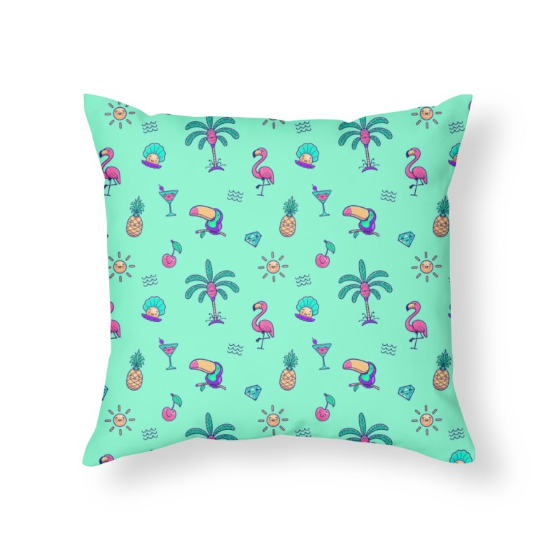 Tropicana Summer Vibes Pattern – Turquoise Home Throw Pillow by Bálooie's Artist Shop