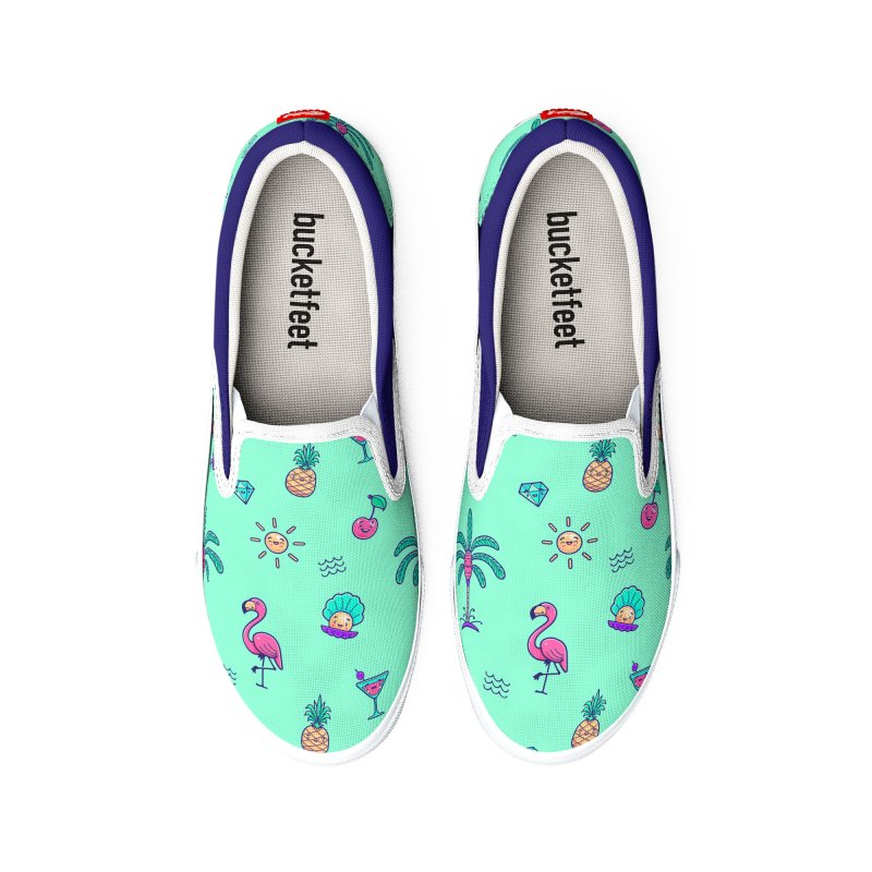 Tropicana Summer Vibes Pattern – Turquoise Men's Shoes by Bálooie's Artist Shop