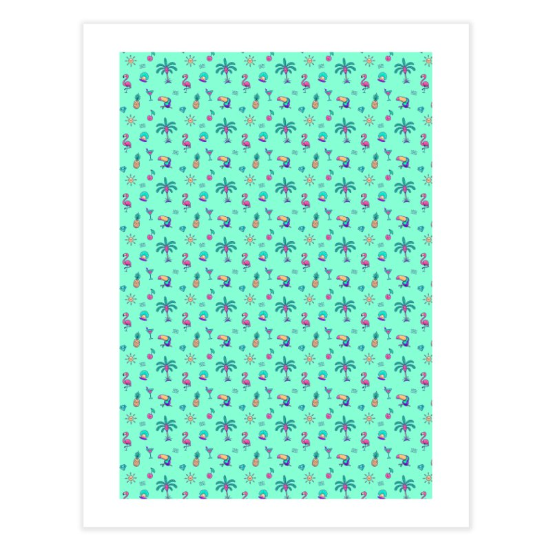 Tropicana Summer Vibes Pattern – Turquoise Home Fine Art Print by Bálooie's Artist Shop