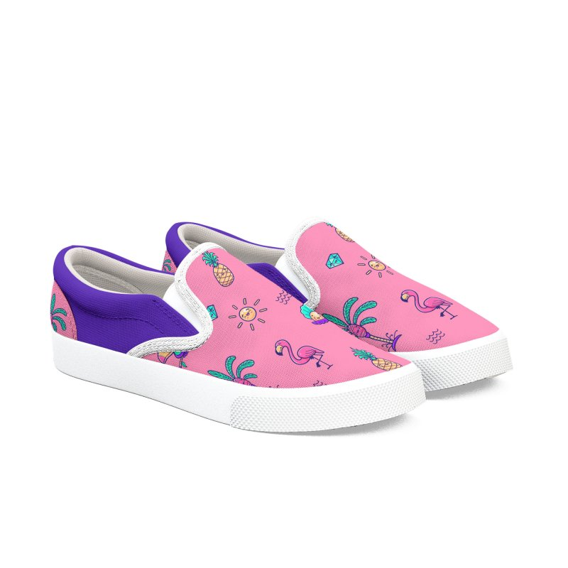 Tropicana Summer Vibes Pattern – Pink Women's Shoes by Bálooie's Artist Shop