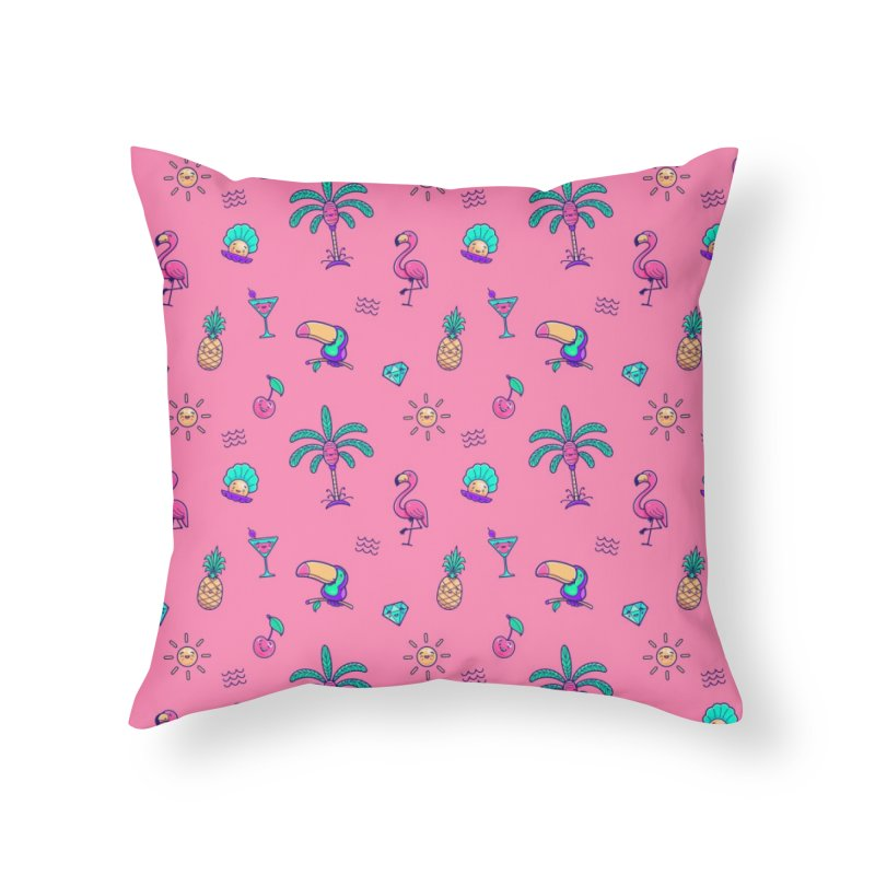 Tropicana Summer Vibes Pattern – Pink Home Throw Pillow by Bálooie's Artist Shop