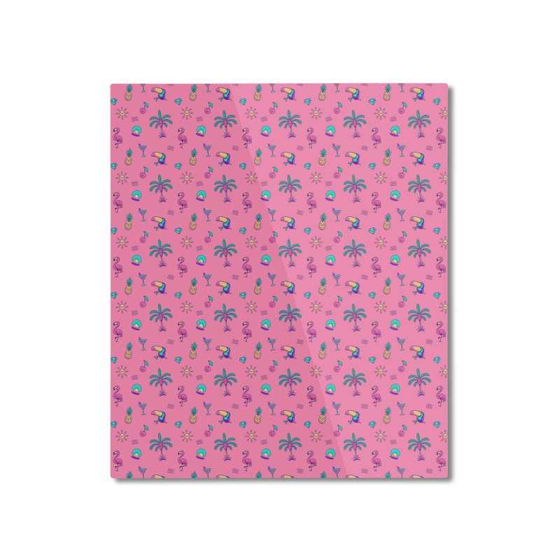 Tropicana Summer Vibes Pattern – Pink Home Mounted Aluminum Print by Bálooie's Artist Shop