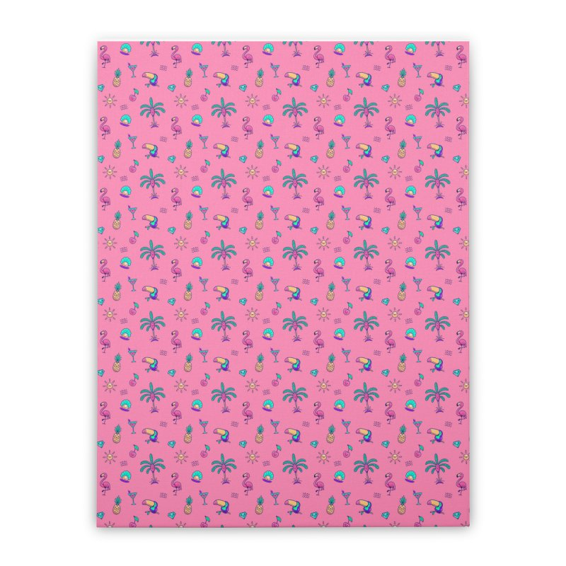 Tropicana Summer Vibes Pattern – Pink Home Stretched Canvas by Bálooie's Artist Shop