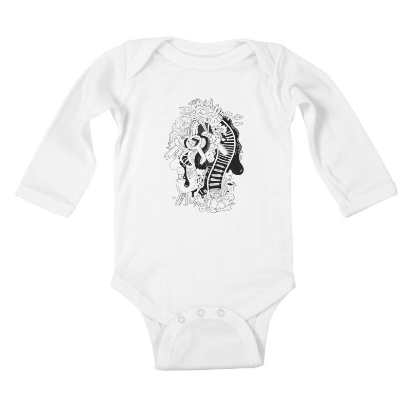 Your head is a beautiful mess Kids Baby Longsleeve Bodysuit by BANANODROMO