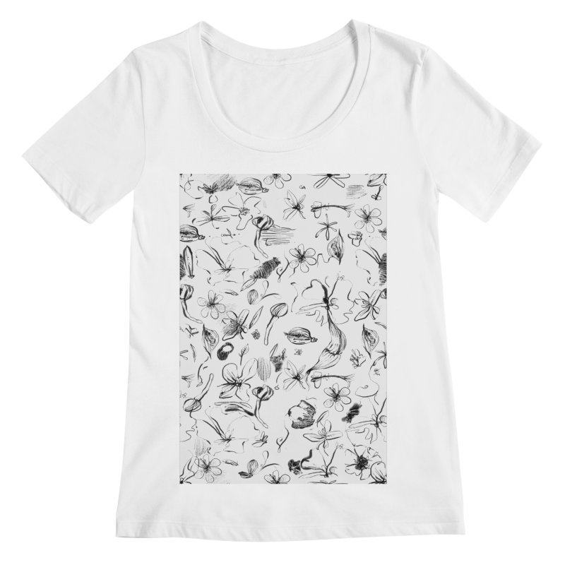 Ink Floral Pattern Abstract Women's Scoopneck by BANANODROMO